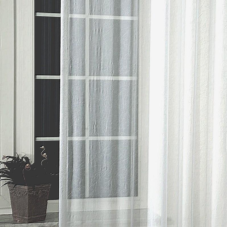 Gyűrt voile függöny anyag méteráru, 01 fehér 270