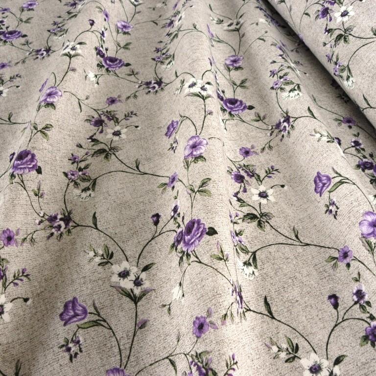 MAXY lila rózsamintás lenhatású lakástextil, dekorvászon