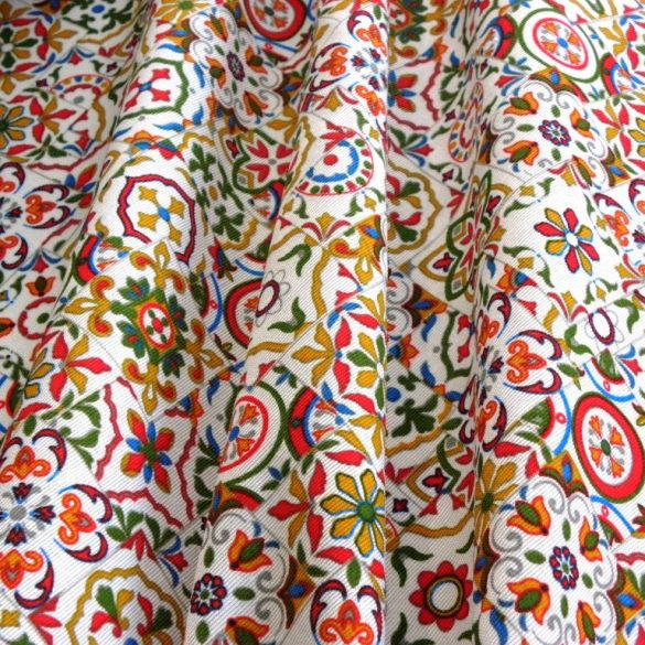 SARAH, színes, mozaikmintás lakástextil, dekorvászon