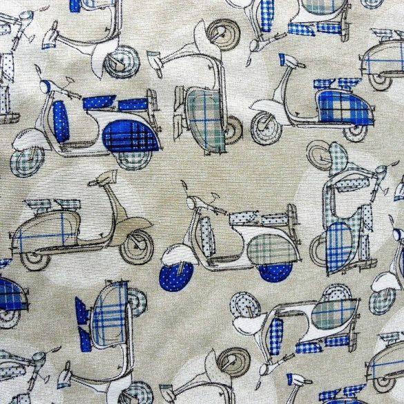 BLUE MOPED, kismotor, robogó mintás lakástextil dekorvászon