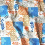 BY THE SEA, patchwork tengerpart mintás lakástextil dekorvászon