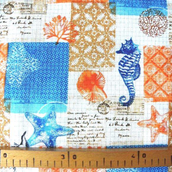 ÓCEÁN, tenger mintás spanyol lakástextil, dekorvászon