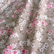MULAN, cseresznyevirág mintás lakástextil, dekorvászon - bézs-rózsaszín
