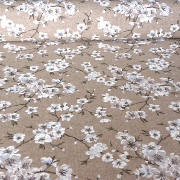 MULAN, cseresznyevirág mintás lakástextil, dekorvászon - bézs-szürke