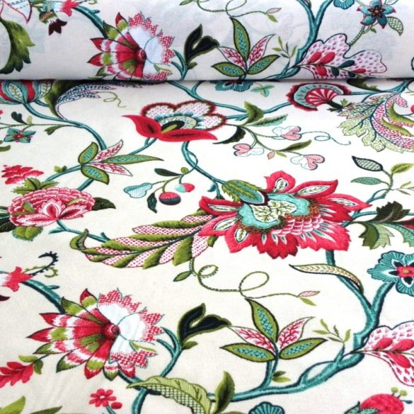 Mara, nagy színes virágos lakástextil, dekorvászon