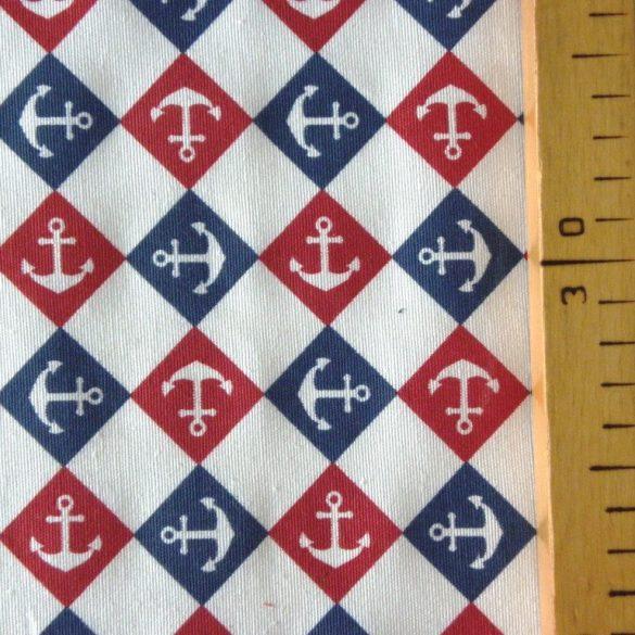 ANKER TRIKOLOR, piros-kék-fehér, horgony mintás lakástextil dekorvászon