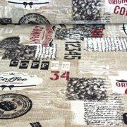 RISTRETTO, kávés mintás lakástextil, dekorvászon - maradék darab: 1,17 m