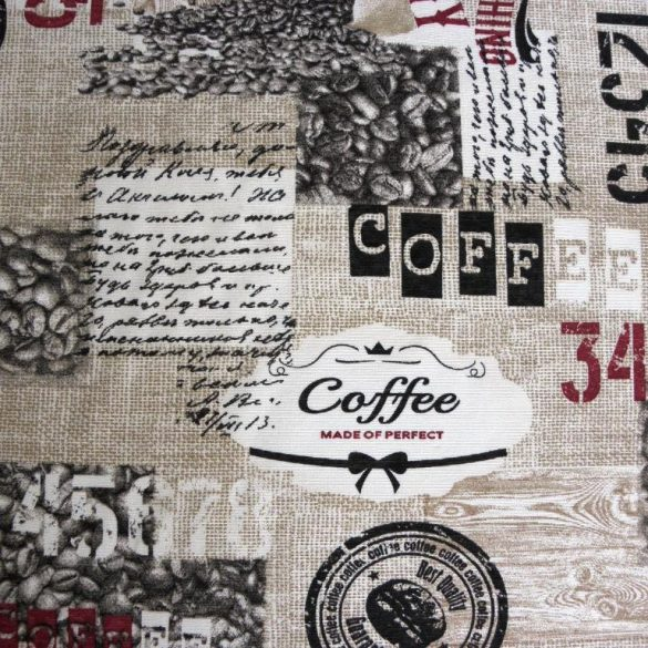 RISTRETTO, kávés mintás lakástextil, dekorvászon