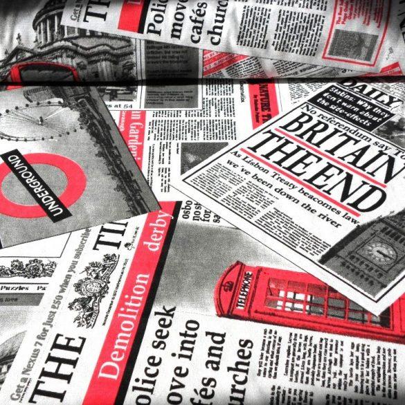 NEWS, angol újság mintás lakástextil, dekorvászon, piros-fekete
