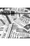 NEWS, angol újság mintás lakástextil, dekorvászon, fekete-fehér