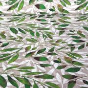BABÉR, leveles lakástextil, dekorvászon, bézs - maradék darab: 0,67 m