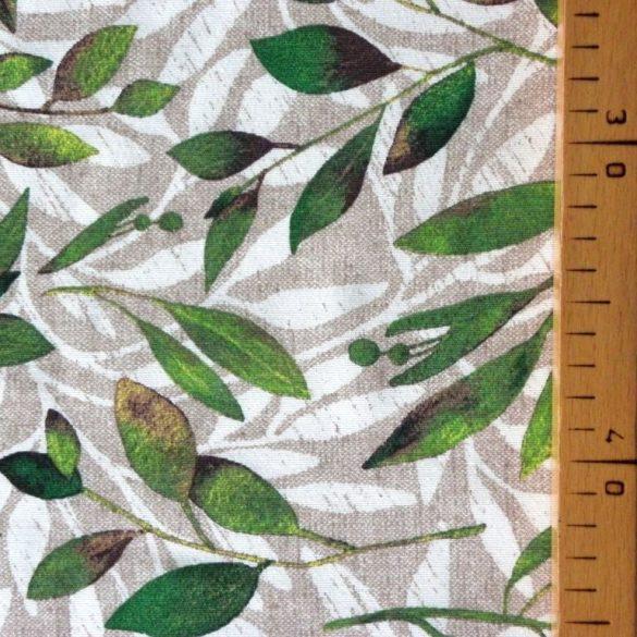 BABÉR, leveles lakástextil, dekorvászon, bézs - 140 cm széles