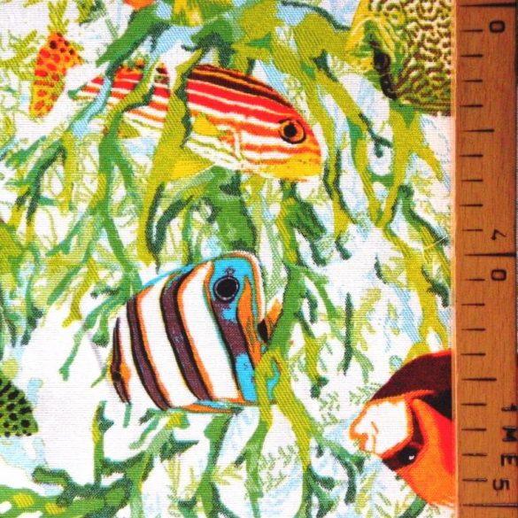 AKVÁRIUM, színes halak mintás lakástextil dekorvászon