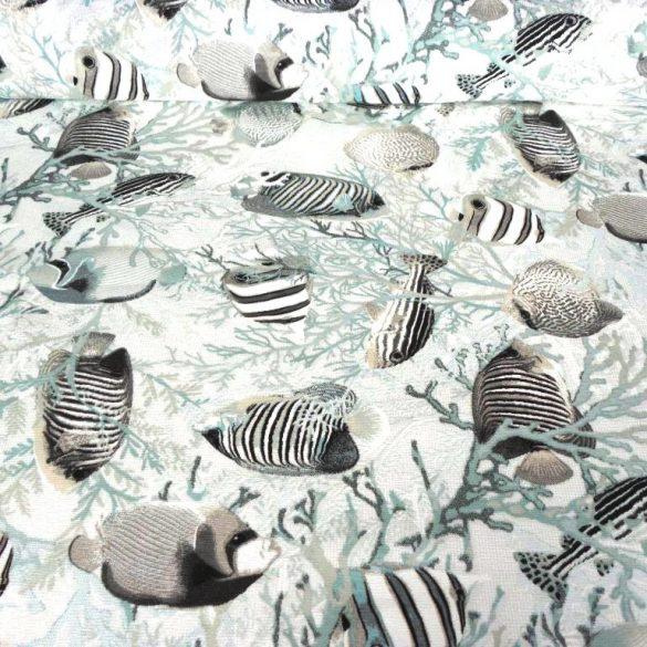 AKVÁRIUM, türkiz-szürke halak mintás lakástextil dekorvászon