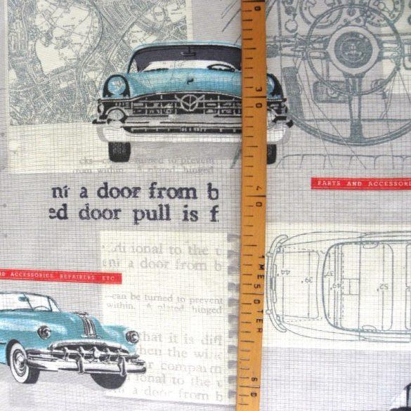 CAR SERVICE, old timer autós lakástextil, dekorvászon
