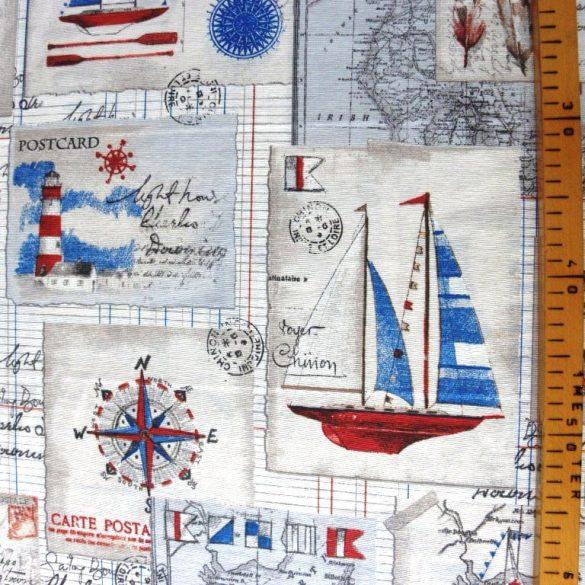 BALEAR, hajós mintás lakástextil, dekorvászon