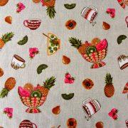 FRUIT BOWL, gyümölcs mintás lakástextil dekorvászon, barna