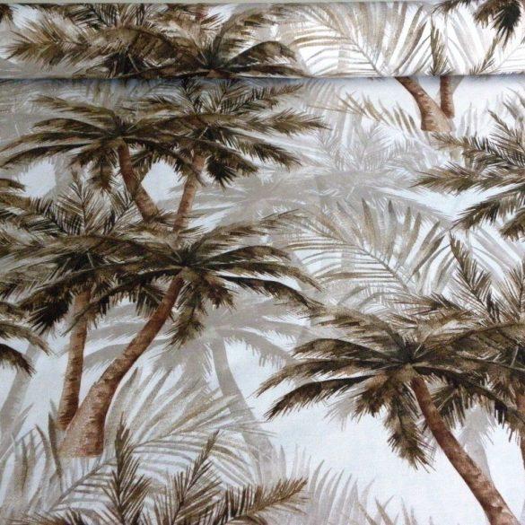 PALM BEACH, pálmafa mintás lakástextil, dekorvászon - barna
