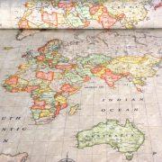 Térkép mintás lakástextil, dekorvászon, drapp