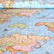 Térkép mintás lakástextil, dekorvászon, kék