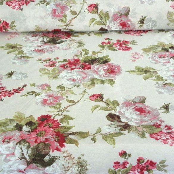 ELIANA ROSA, rózsaszín nagy rózsa mintás lakástextil dekorvászon