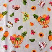 FRUIT BOWL, gyümölcs mintás lakástextil dekorvászon, narancs