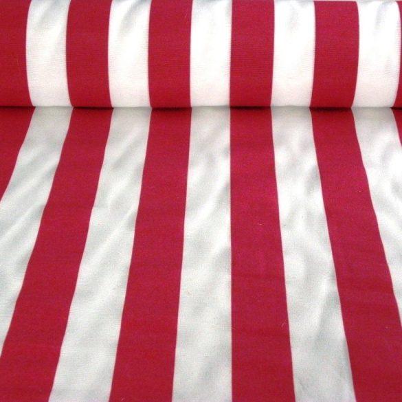 CAMPING, széles piros csíkos lakástextil dekorvászon