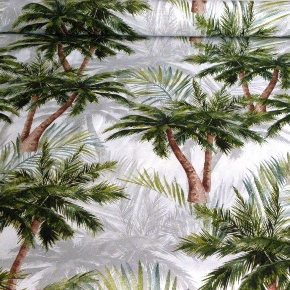 PALM BEACH, pálmafa mintás lakástextil, dekorvászon - zöld