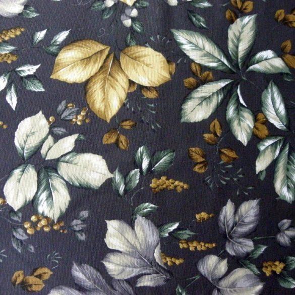 ROBIN, őszi levél mintás lakástextil, dekorvászon - antracit