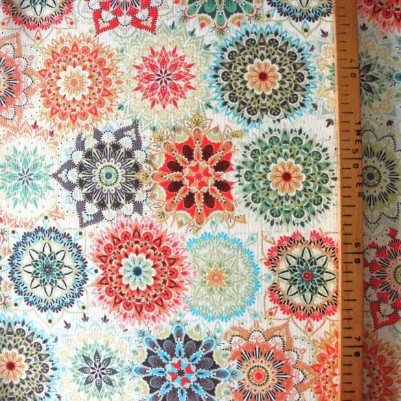MALU, mandala mintás lakástextil, dekorvászon - jáde