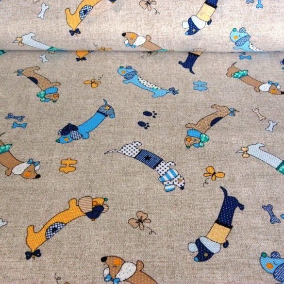 TACSI, kutyusos lakástextil, dekorvászon, bézs-kék