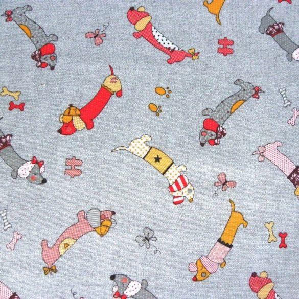TACSI, kutyusos lakástextil, dekorvászon, szürke-piros