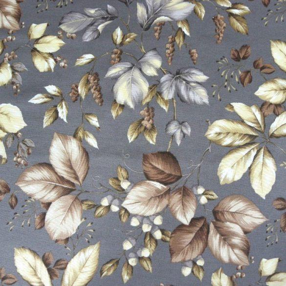 ROBIN, őszi levél mintás lakástextil, dekorvászon - szürke
