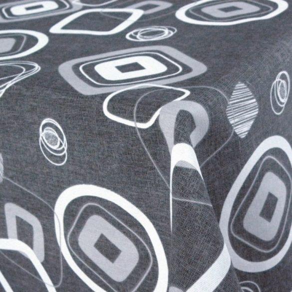 RETRO, geometrikus mintás lakástextil, dekorvászon, sötétszürke