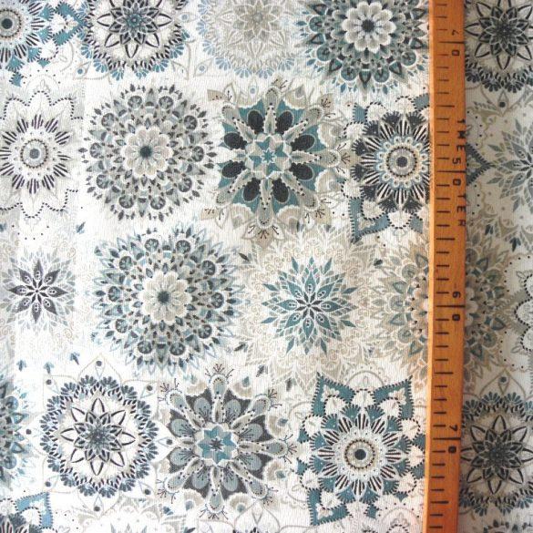 MALU, mandala mintás lakástextil, dekorvászon - türkiz