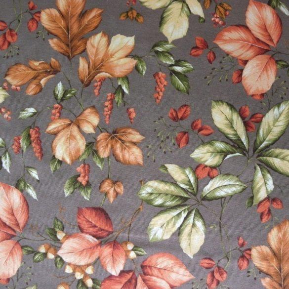 ROBIN, őszi levél mintás lakástextil, dekorvászon - taupe, barnásszürke