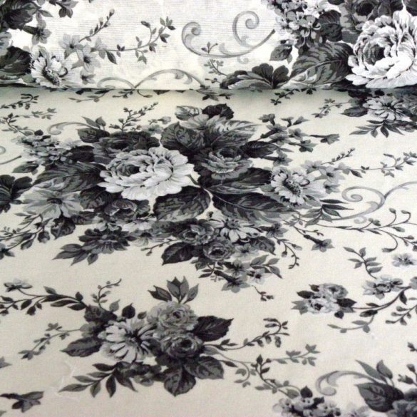 ANDREA fekete rózsás lakástextil, dekorvászon
