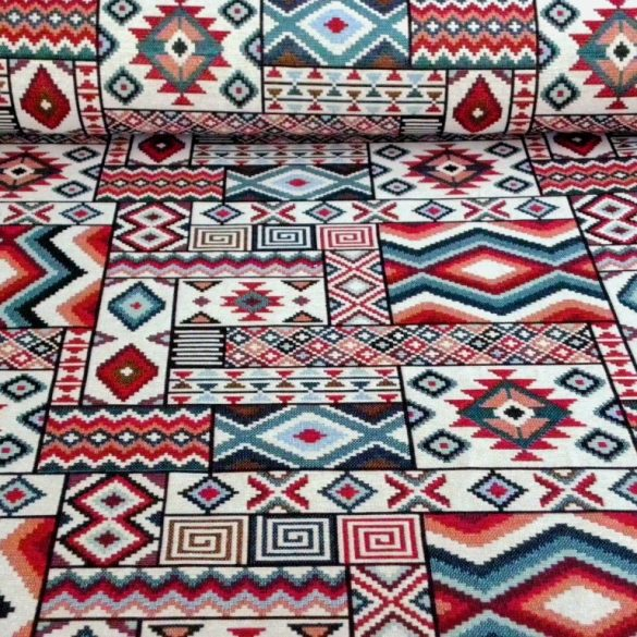 AZTEC, szőttes mintás, jacquardszövött, prémium minőségű spanyol lakástextil