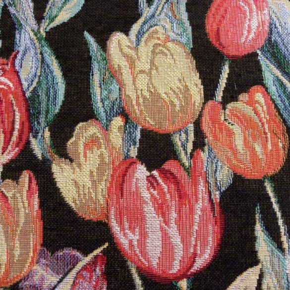 KEU, tulipán mintás, fekete, jacquardszövött, prémium minőségű spanyol lakástextil