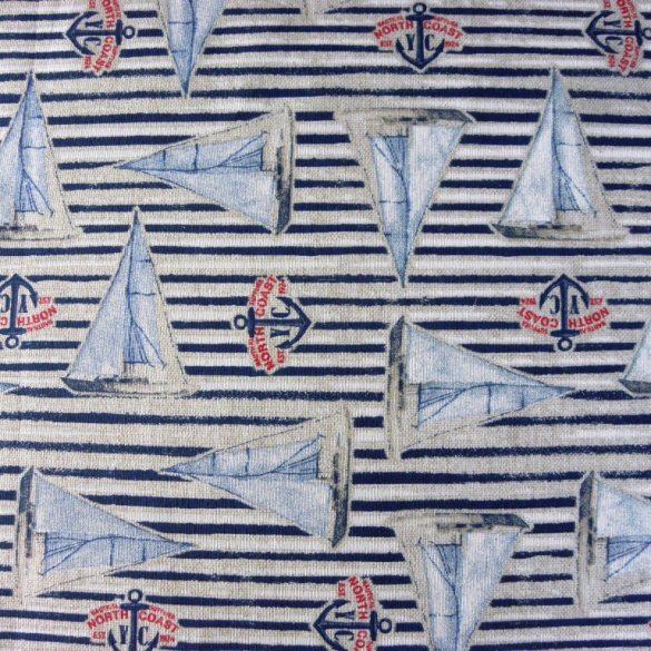 SAIL, vitorláshajós, csíkos mintás, lakástextil dekorvászon