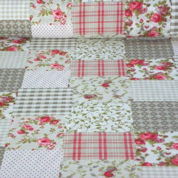 TAKA, patchwork mintás lakástextil dekorvászon, bordó