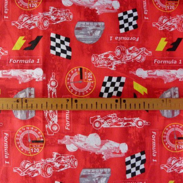 F1, autóverseny, piros gyerekmintás lakástextil, dekorvászon