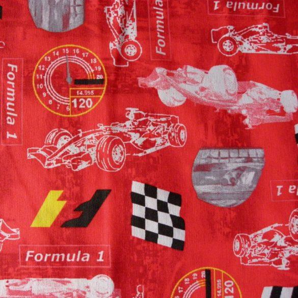 F1, autóverseny, piros gyerekmintás lakástextil, dekorvászon, 280 cm és 140 cm széles