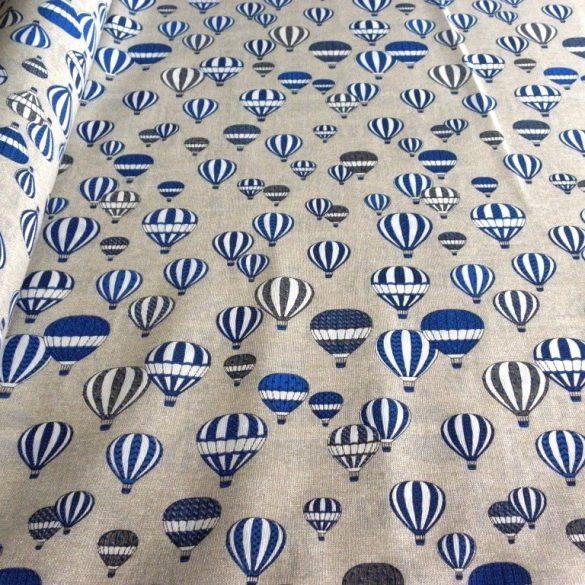 Léghajó mintás lakástextil, dekorvászon, kék