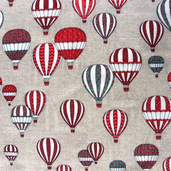 Léghajó mintás lakástextil, dekorvászon, piros