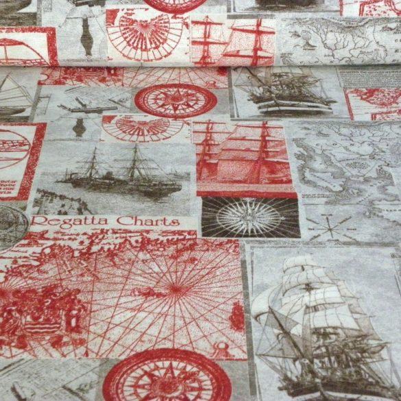CLIPPER, hajós mintás, extra minőségű lakástextil 140 cm és 280 cm szélességben