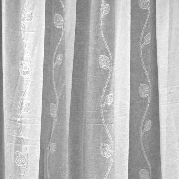 BRISTOL, gyűrt, hímzett voile függöny anyag méteráru, fehér