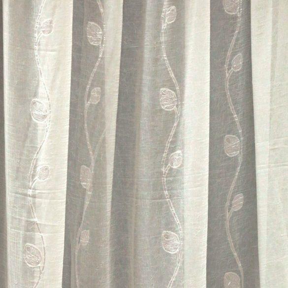 BRISTOL, gyűrt, hímzett voile függöny anyag méteráru, ekrü 270 cm magas