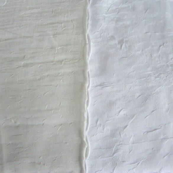 Gyűrt voile függöny anyag méteráru, ekrü 290 cm magas - maradék darab: 1,55 m