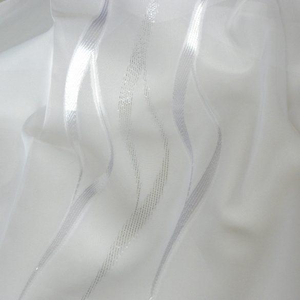 PRESTON, beszőtt mintás voile, fényáteresztő függönyanyag, fehér-ezüst